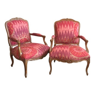 Pink Ikat French Country Style Chairs - a Pair For Sale