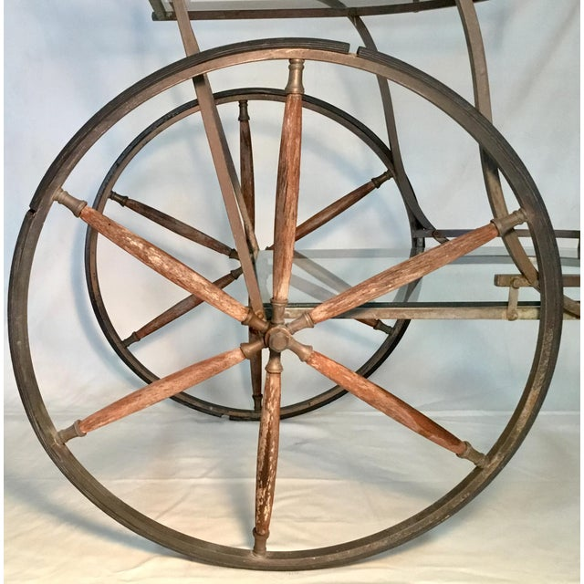 Bronze 1950s Bronze and Glass Bar Cart With Wooden Spoked Wheels For Sale - Image 8 of 13