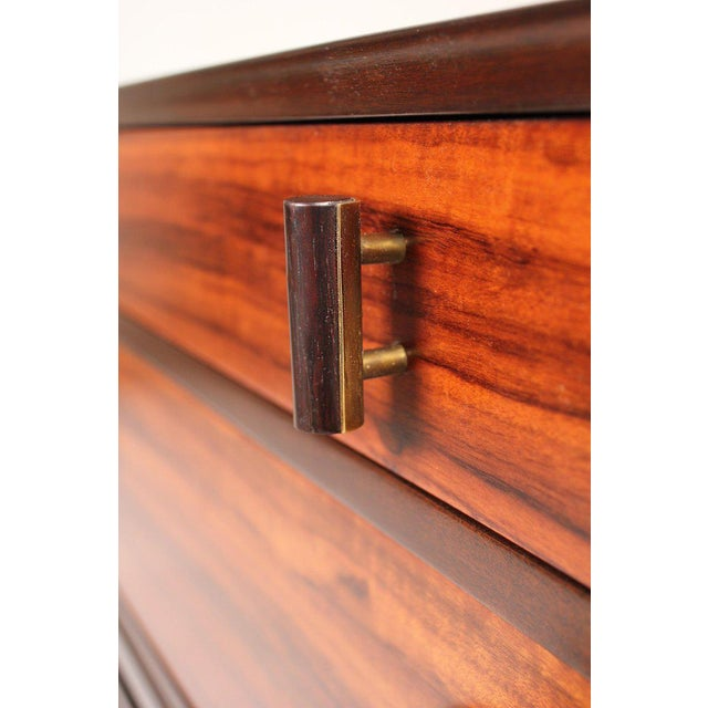 Brass Edward Wormley for Dunbar Brazilian Rosewood, Ebony and Mahogany Nightstands - a Pair For Sale - Image 7 of 10
