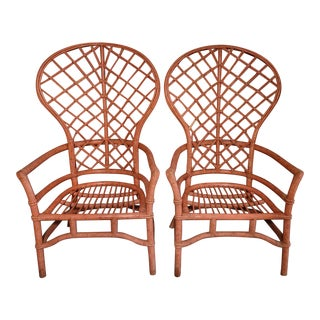 Vintage High Fan Back Rattan Chairs - a Pair For Sale