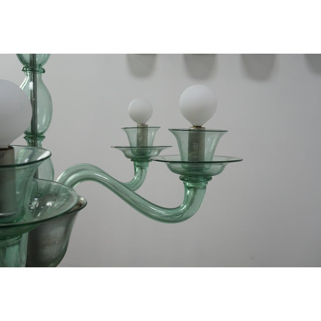 Mid-Century Modern Solid Aqua Murano Glass Chandelier For Sale - Image 9 of 11