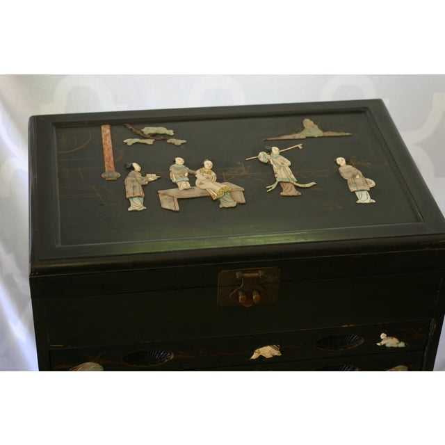 Antique Chinese Black Lacquer Pictorial China Cabinet - Image 6 of 10