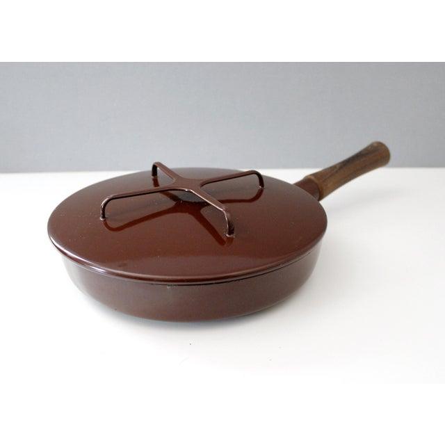 Large Brown Dansk Kobenstyle Enamel Skillet Frying Pan With Lid Jens Quistgaard For Sale - Image 10 of 10