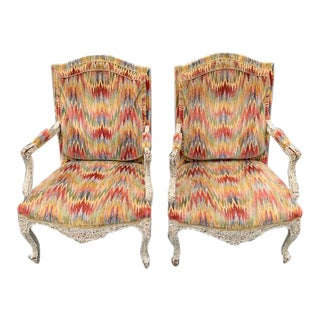 French Carved Wood Bergere Fauteuils - a Pair For Sale