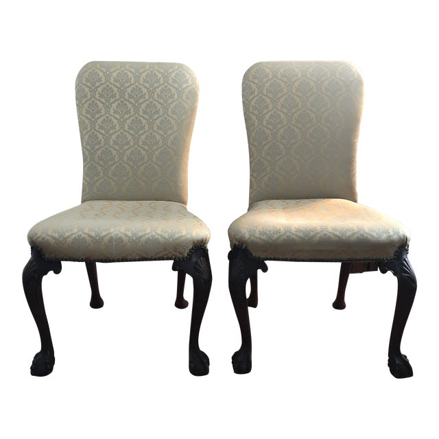 18th Century English Walnut or Mahogany George II Ball & Claw Side Chairs- A Pair For Sale