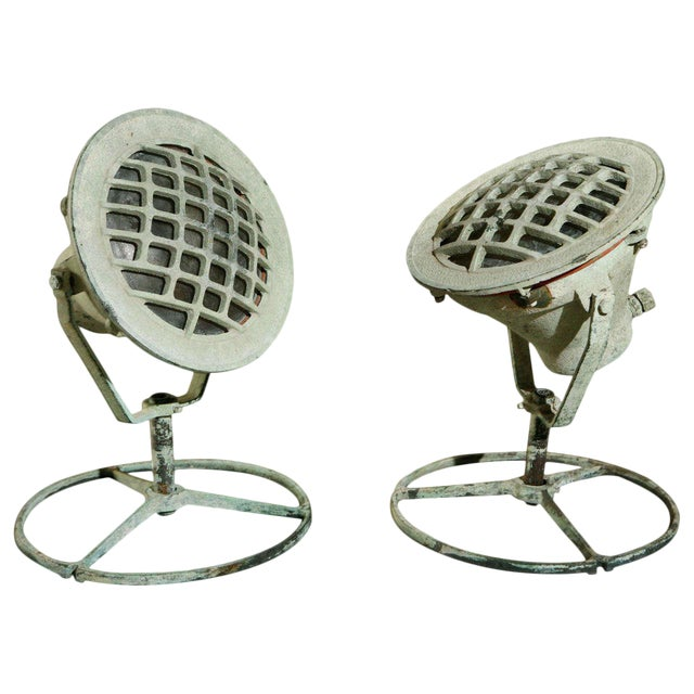 20th Century Industrial Bronze Ship Spot Lights -a Pair For Sale