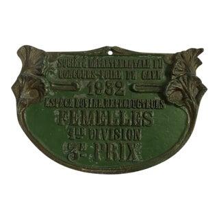 Vintage French 1932 Agricultural Award Plaque