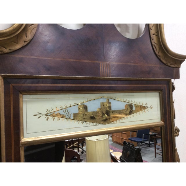 Hepplewhite Style Looking Glass Mirror With Inlay For Sale - Image 4 of 6