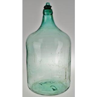Vintage Large Scale 1920 Aqua Glass Demijohn Wine Bottle W/ Glass Stopper Preview