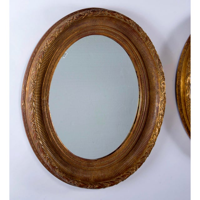 Mid-Century Modern Near Pair 19th Century Carved Gilt Wood and Gesso Mirrors For Sale - Image 3 of 8