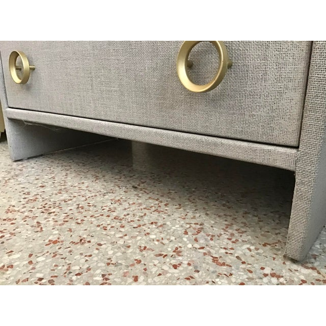 2010s Todd Hase Burlap Wrapped Nightstand Gray Finish For Sale - Image 5 of 8