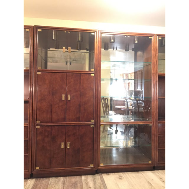Asian Henredon Campaign Wall Unit W/ Curio Display Cabinets, Bookshelves and Dual Door Cabinet - 4 Pc. Set For Sale - Image 3 of 13