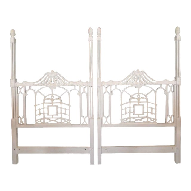 Vintage Chippendale Hollywood Regency Pagoda Twin Headboards - A Pair For Sale