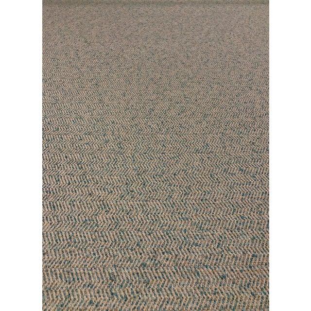 Modern Herringbone - Linen / Turquoise Upholstery Fabric - 10 Yards For Sale
