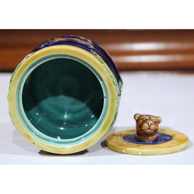 Blue 19th Century French Hand-Painted Barbotine Sugar Bowl With Lid and Cows For Sale - Image 8 of 9