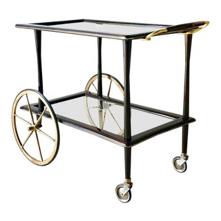 Italian Walnut and Brass Barcart 1960s For Sale