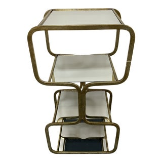 Tiered Iron Frame Side Table With Mirror Shelves/Tabletops Large For Sale