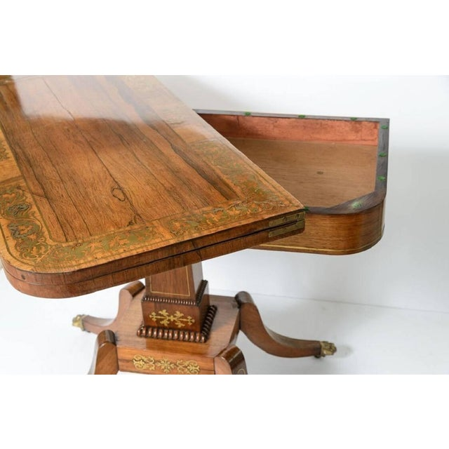 Gold 19th Century George IV Rosewood and Brass Games Table For Sale - Image 8 of 11