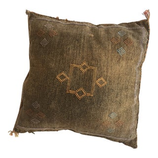 Bronze and Yellow Embroidered Cactus Silk Sabra Pillow