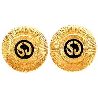 """1990's St. John Gold & Black Abstract """"Sj"""" Logo Earrings For Sale"""