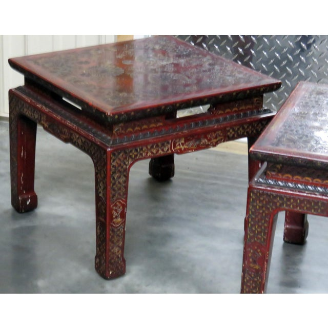 Pair John Widdicomb paint decorated Asian inspired side tables. Made in the mid 20th century.