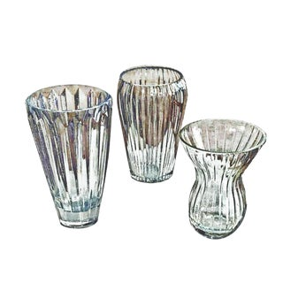 Vintage Ribbed and Ridged Clear Formed Glass and Cut Crystal Vases - Set of 3 For Sale