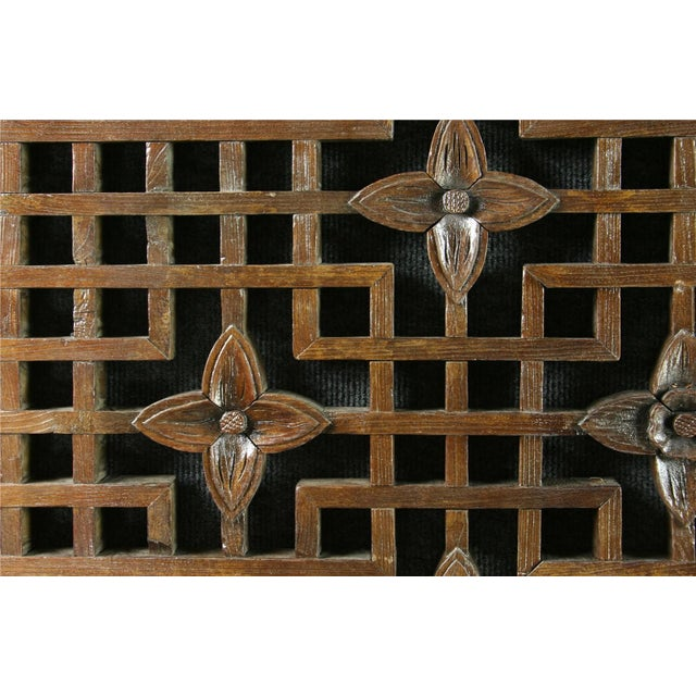 Antique Chinese Geometric Carved Window Screen - Image 6 of 7
