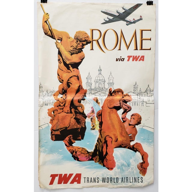 Original Vintage Travel Poster Rome via Twa Trans World Airlines C.1960s For Sale - Image 10 of 10