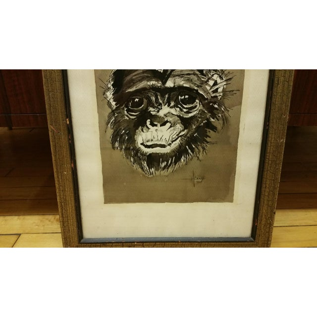 Mid Century Ink & Watercolor Monkey Portrait - Image 3 of 4