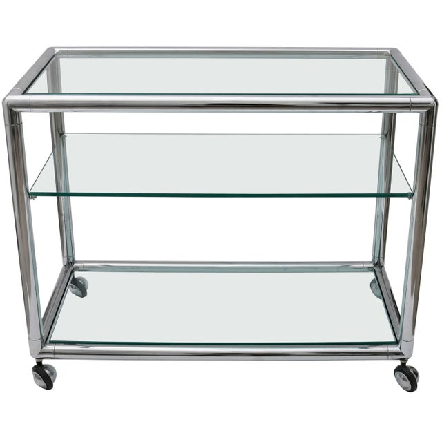 Polished Chrome & Glass Bar Cart by Pace For Sale - Image 10 of 10