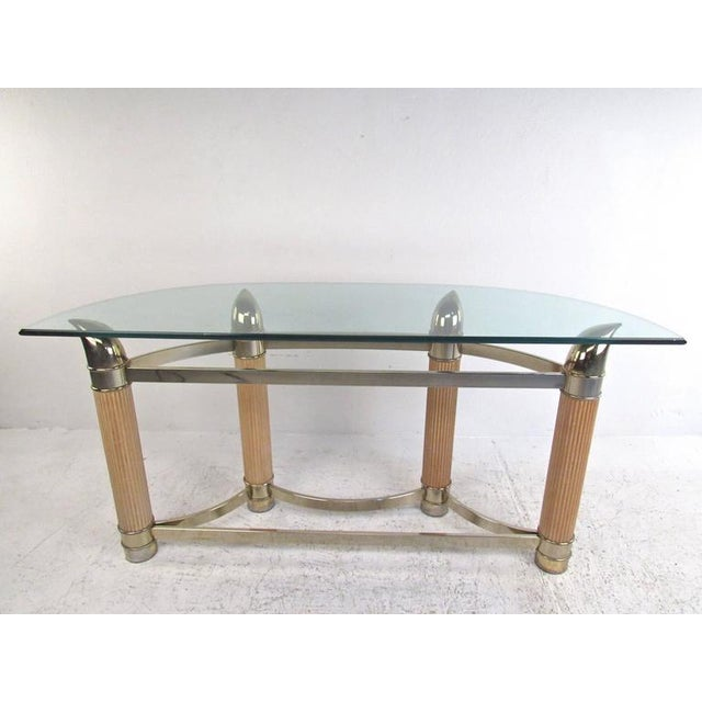 Mid-Century Modern Demilune Console Table For Sale - Image 4 of 9