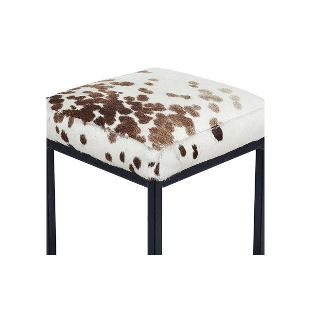Mid-Century Retro Iron and Cowhide Barstools - A Pair - Image 5 of 6