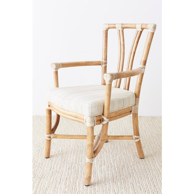 McGuire Pair of McGuire Organic Modern Bamboo Rattan Armchairs For Sale - Image 4 of 13