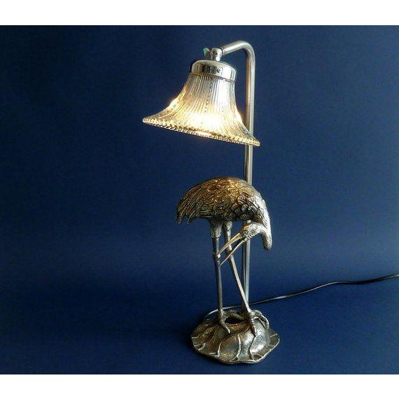 Art Nouveau Hollywood Regency Maison Bagues Silvered Bronze/ Crystal Shade Heron Lamp For Sale - Image 3 of 8