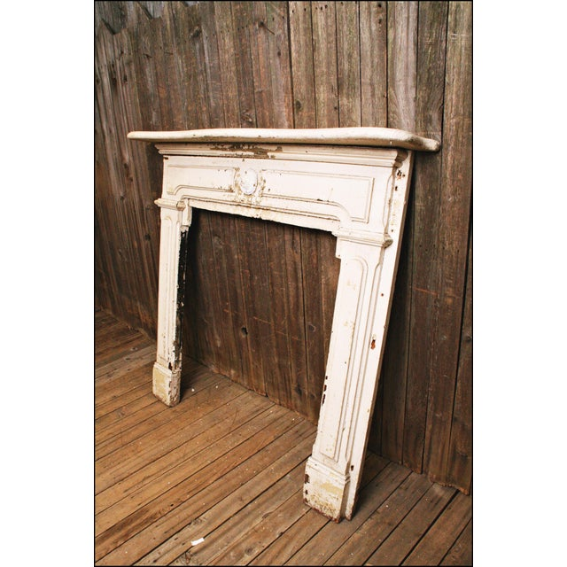 Antique Original Chippy White Painted Wooden Fireplace Mantel - Image 6 of 11