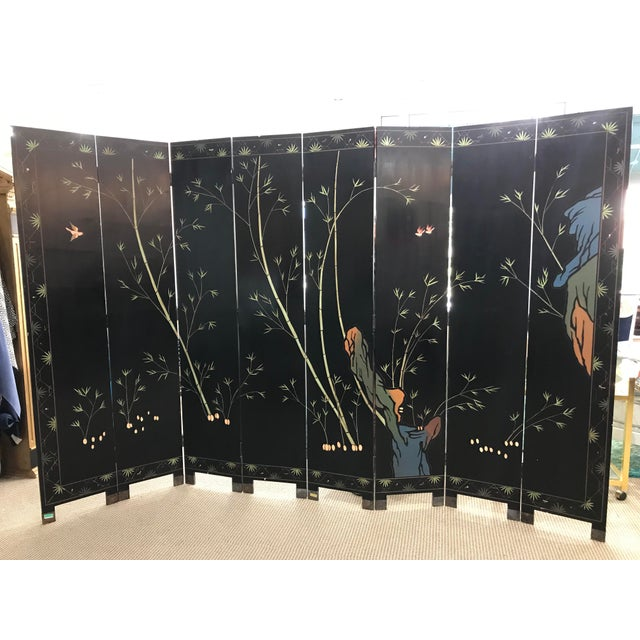 Black 1980s Maitland-Smith Eight Panel Asian Lacquered Wood Screen Room Divider For Sale - Image 8 of 13