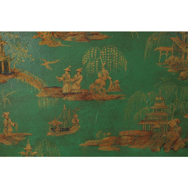 Asian Vintage Chinoiserie Green Tray With Hand Painted Scenery in Gold Paint For Sale - Image 3 of 12
