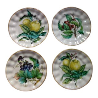 Vintage Italian Hand Painted Signed Fruit Plates - Set of 4 For Sale