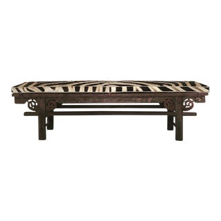 Chinese Painted Bench & Zebra Hide Cushion - No. 2
