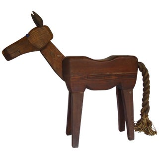 Handmade Whimsical Folk Art Horse Stool For Sale