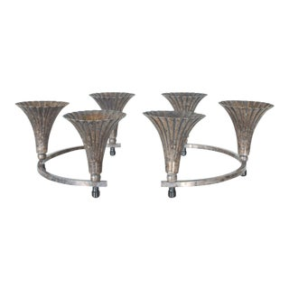 Sheffield Silver Circular Candelabra Centerpiece With 6 Candle Holders - a Pair For Sale