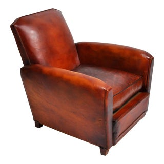 French Leather Armchair For Sale