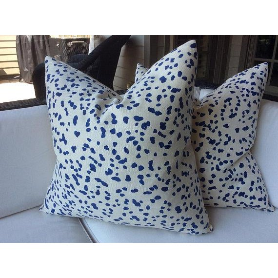 "This wonderful pair of 100% Hemp pillows, from the inimitable workroom of Peter Fasano, ""Double Dotty"", in cobalt, are..."