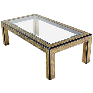 Acid-Etched Brass Coffee Table by Bernhard Rohne for Mastercraft For Sale