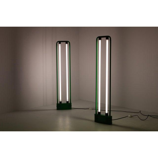 1980s Gian Nicola Gigante Green Neon Floor Lamp For Sale - Image 5 of 8