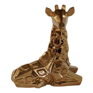 1970s 24k Gold Plated Ceramic Giraffe Sculpture by Jaru For Sale