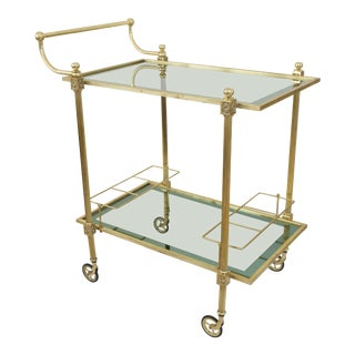 Vintage Brass and Glass Bar Cart For Sale