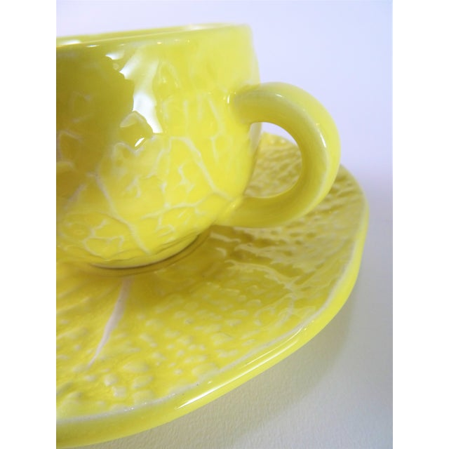 Vintage Yellow Cabbage Majolica Tea Cup and Saucer - Service for 3 For Sale - Image 9 of 10