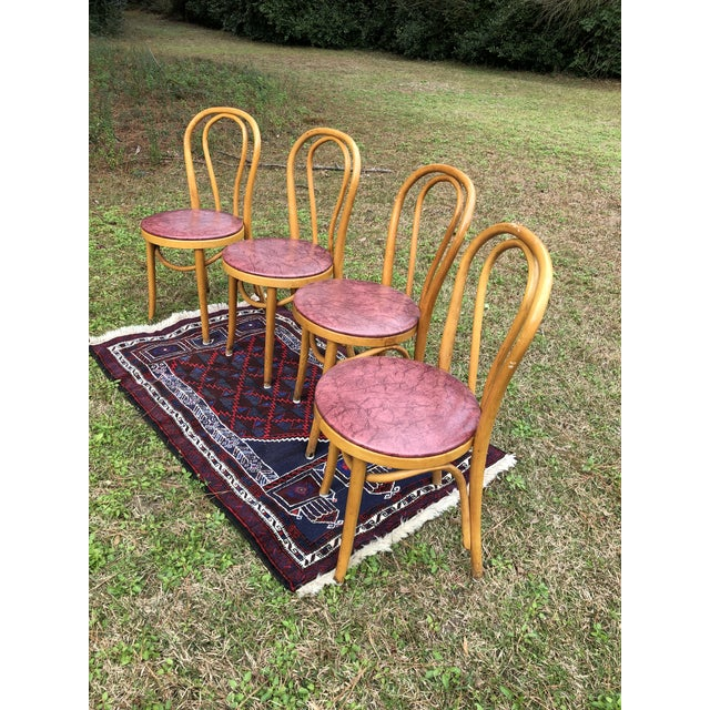 French Vintage Mid Century Thonet Style Cafe Chairs- Set of 4 For Sale - Image 3 of 10