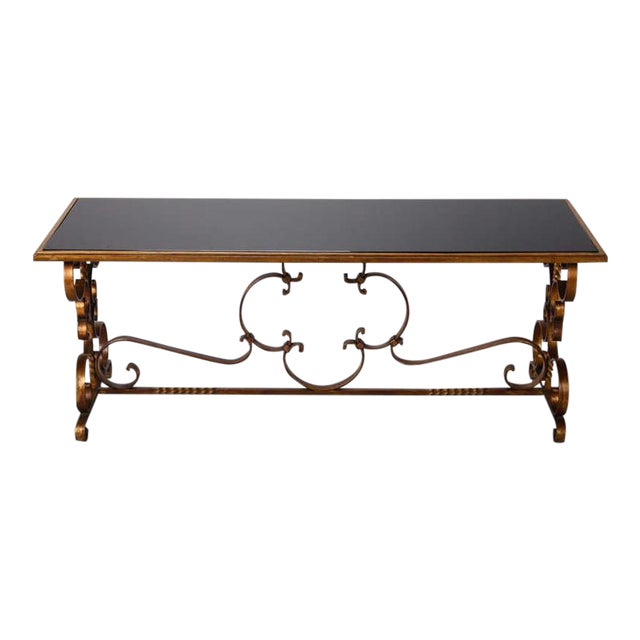 Italian Gilt Iron and Black Glass Cocktail or Coffee Table - Image 1 of 8